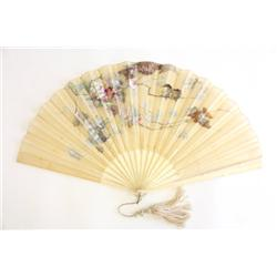 Silk & ivory handpainted Chinese fan