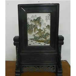 Chinese screen with porcelain scenic plaque
