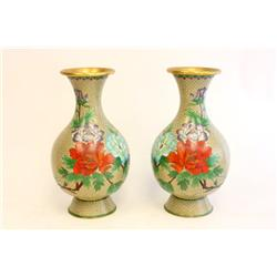 Early 20th c. pair cloisonne Chinese vases