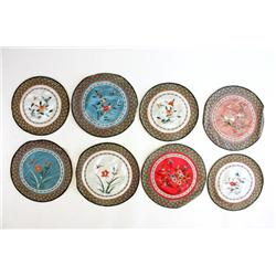 8 circular pieces of handmade silk