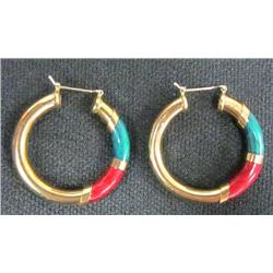 Pair 18kt gold & enamel hoop earrings