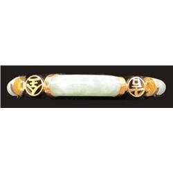 14kt yellow gold & jade Chinese bracelet