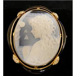 18kt gold & diamond signed cameo pin