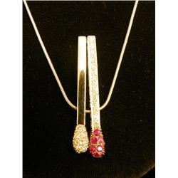 18kt gold, diamond & ruby pendant