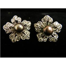 14kt gold, pearl & diamond earrings