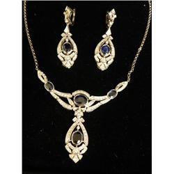 14kt gold, diamond & sapphire set