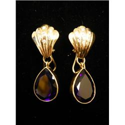 14kt gold, amethyst & diamond earrings