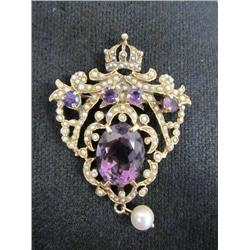 Amethyst, seed pearl & gold broach & pendant