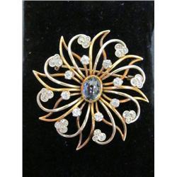 Diamond gold & cabochon sapphire brooch