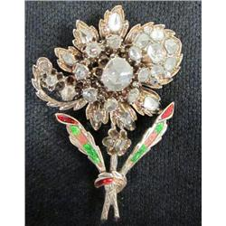 Floral rosecut diamond & enamel brooch