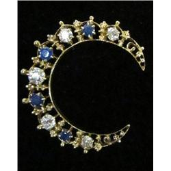 Crescent shape gold, sapphire & diamond pin
