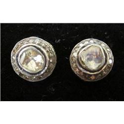 Pair rosecut diamond post earrings