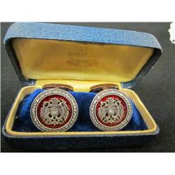 Enamel diamond rose gold round cufflinks