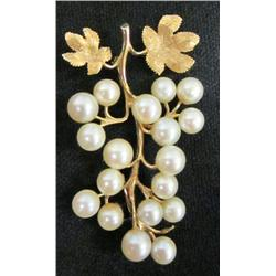 "14kt gold & pearl ""Tree"" design pin"