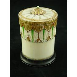 Ivory round covered trinket box