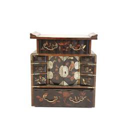 Antique Oriental ebonized jewelry box