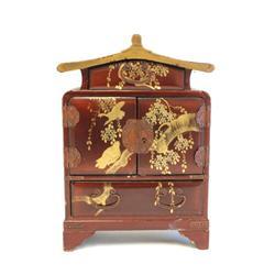 Antique brown Oriental jewelry box