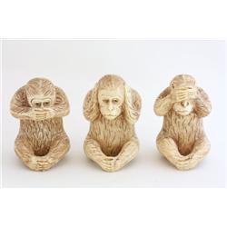 """3 bone """"Monkey"""" figures"""