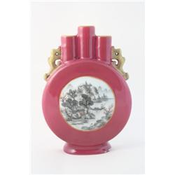 Beautiful coral glazed vase with enamel