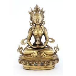 "19th c. gilt bronze ""Sitting Buddha"""