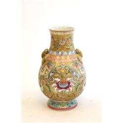 19th c. Famille Rose vase with 2 bat handles
