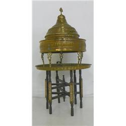 Middle Eastern brass incense burner with stand