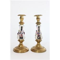 Pair porcelain & brass candlesticks
