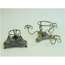2 English silver plated epergne bases