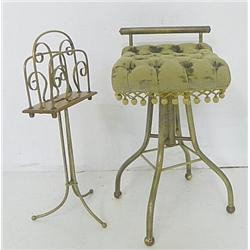 Brass & wood magazine rack,brass footed chair