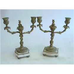 Pair bronze candelabrum 2 arm on marble bases