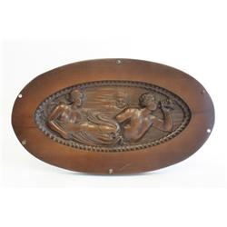 Art Deco oval carved wood plaque