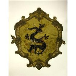 """Antique 19th c. embroidered cloth with """"Dragon"""""""