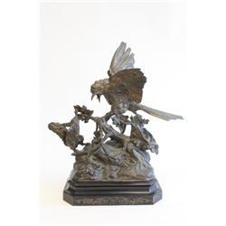 "19th c. gilt metal sculpture ""Bird & the Hare"""