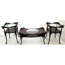 3 carved mahogany tables ca. 1930's
