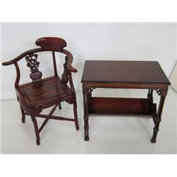 Mahogany corner chair & side table
