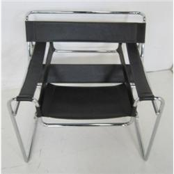 Wassily style chrome & black leather chair