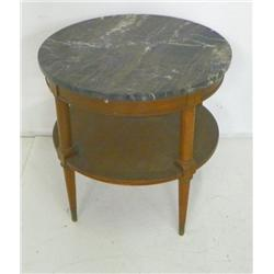 Marble top mahogany round side table