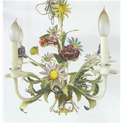 Paint decorated floral metal chandelier