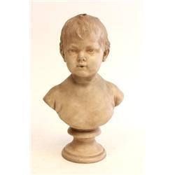 Antique Sevres terracotta bust signed Hauden