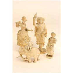 4 pieces carved ivory figures