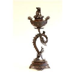 """Japanese 19th c. bronze censer of """"Dragons"""""""
