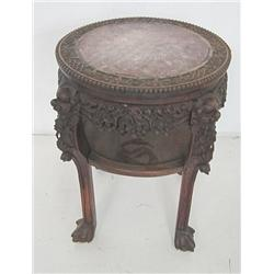 19th c. carved marble top Chinese pedestal