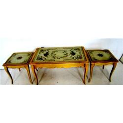 Paint decorated 3 part coffee table