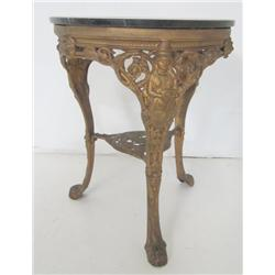 Black marble top round table