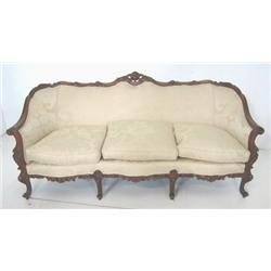 Couch with carved frame beige upholstery