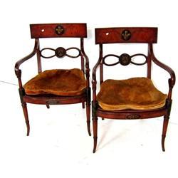 Pair Adams decorated armchairs