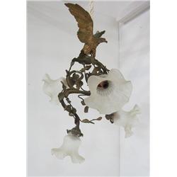 """Bronze 5 light chandelier with """"Bird"""""""
