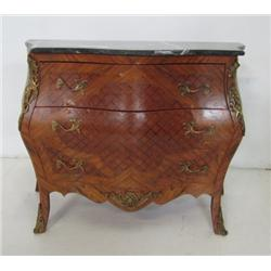 Marble top bombe bronze mounted commode