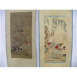 2 Chinese scrolls by Zou Yi Gui & Bi Guang