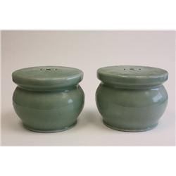 Pair Celadon pedestals